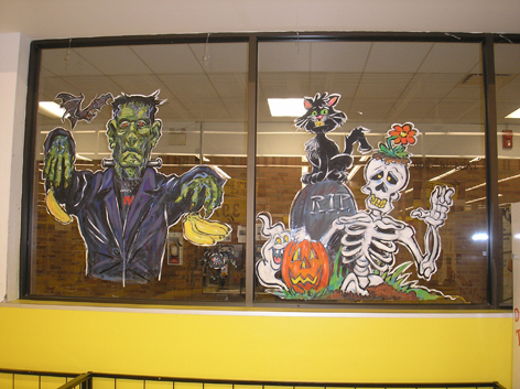 Halloween window art for No Frills.
