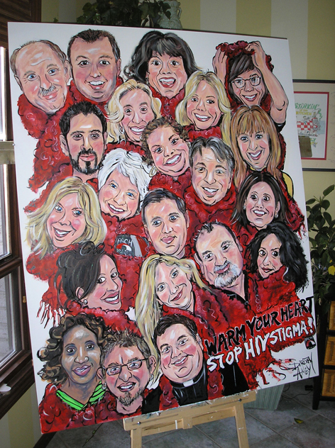 Caricature artwork promoting the Red Scarf Campaign.