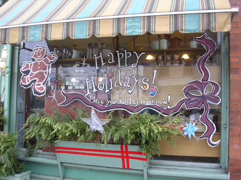 Holiday window art work for local bakery.