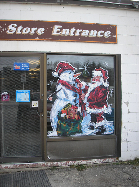 Seasonal window artwork for Dairy Depot.