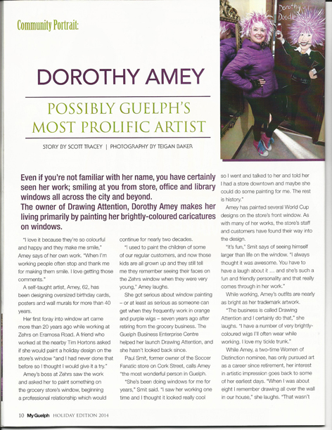 Article page 1 of My Guelph featuring Dorothy Amey.