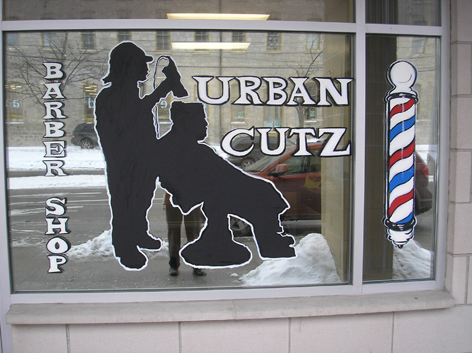 Promotional window art for Urban Cutz.
