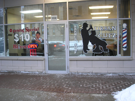 Promotional window art work for Urban Cutz.