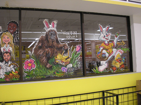Easter window artwork for No Frills.