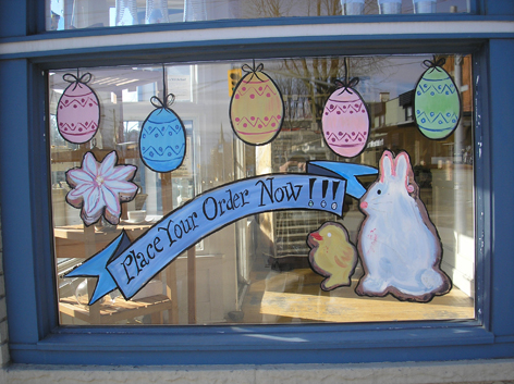 Easter window art work for With The Grain.