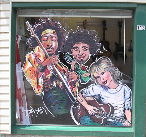 Promotional window art work for Billy Keys Music Store in Acton Ontario.