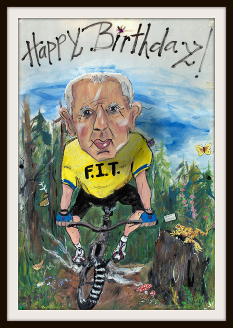 Personalized caricatured oversized 80th birthday card.