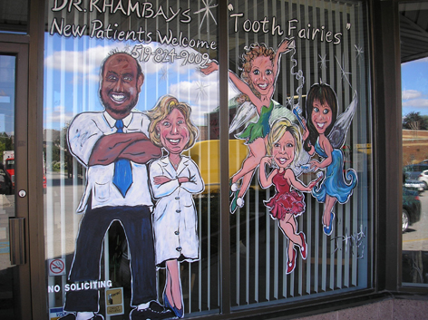 Window art work for a new Dentist on Gordon St in Guelph.