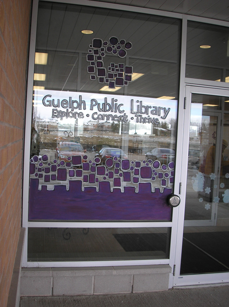 Promotional window art work for Guelph Library.