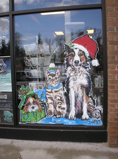 Seasonal window art work for local pet store.