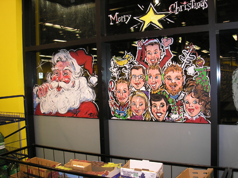Christmas window art work for No Frills in Acton.