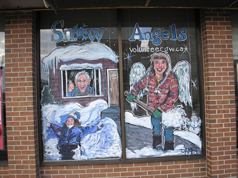 Promotional window art work for Volunteer Snow Angels.