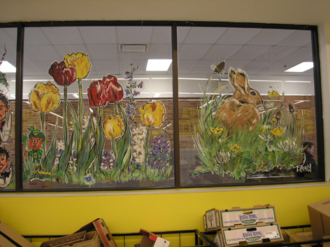 Easter window art work for No Frills in Guelph.