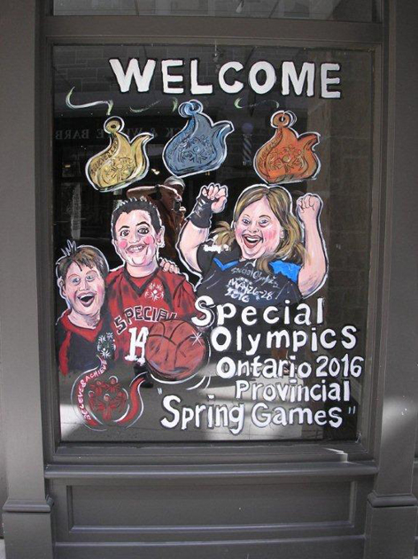 Promotional window art for Special Olympics 2016.