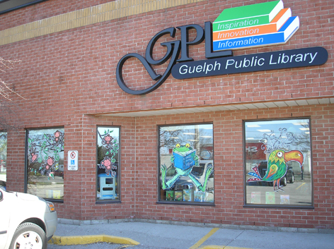 Window art work for library in Guelph.