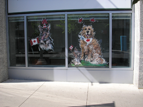 Canada Day window art work for Kitchener business.