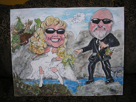 Caricatures done for a couple for their wedding card.