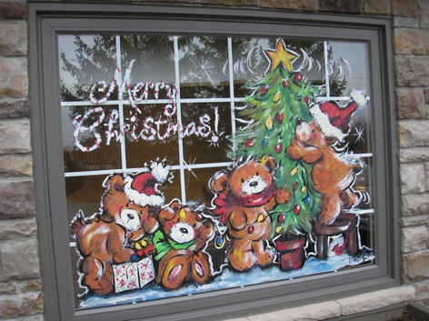 Christmas window art work for The Market Place.