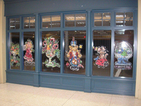 Christmas window art work for Old Quebec Street.