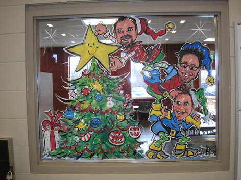 Christmas window art work for Hammond Manufacturing.