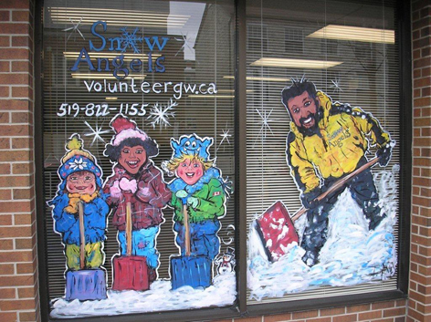 Christmas window art work for Snow Angels Volunteer Service.