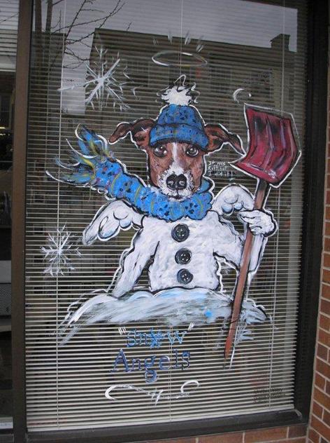 Christmas window art work for Snow Angels Volunteer Service.