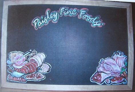 Chalk board artwork for Paisley Fine Foods.