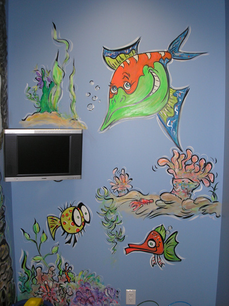 Fish theme in dental office waiting/children's play area.