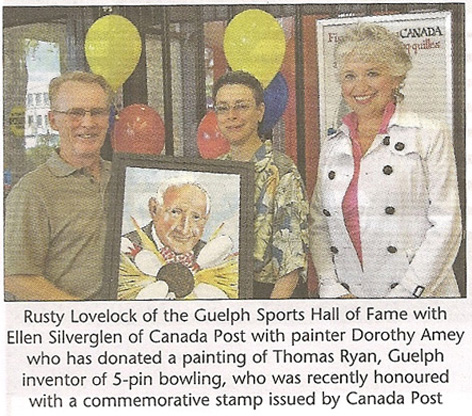 Colour article featuring presentation of Thomas Ryan caricature to Guelph Sports Hall of Fame.