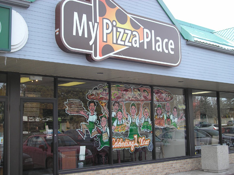 Promotional window art work for My Pizza Place.