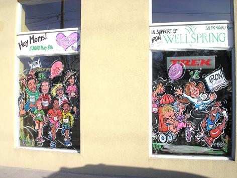 Window artwork for local fundraiser.