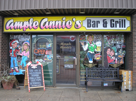 Seasonal window art work for Ample Annie's Bar and Grill.