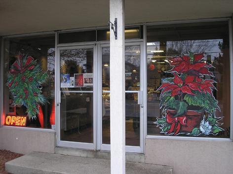 Seasonal window art work for Paisley Fine Foods.