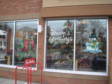 Christmas window art work for Tim Horton's.