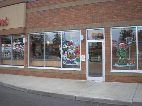 Seasonal window art work for Tim Horton's.