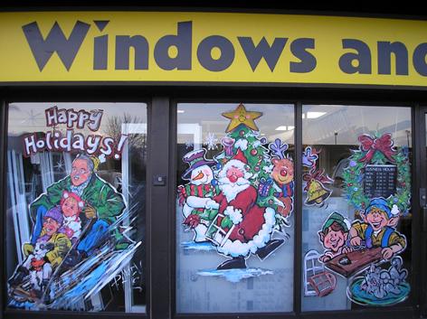 Seasonal window artwork for Windows and Doors store.