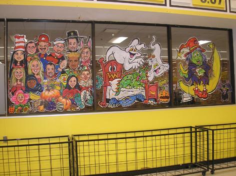 Halloween window art for No Frills.