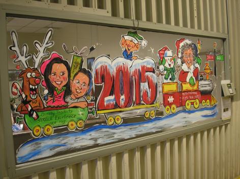 Christmas window art work for Hammond Manufacturing Ltd.