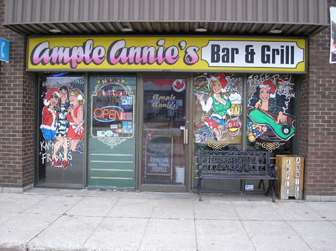 Seasonal window artwork for Ample Annie's.
