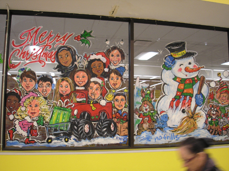 Seasonal window artwork for No Frills.