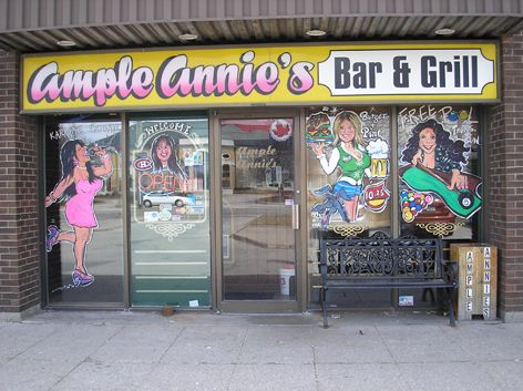Window art work for Ample Annie's.