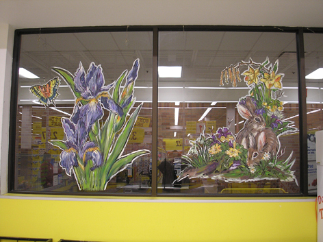 Easter window artwork for No Frills.
