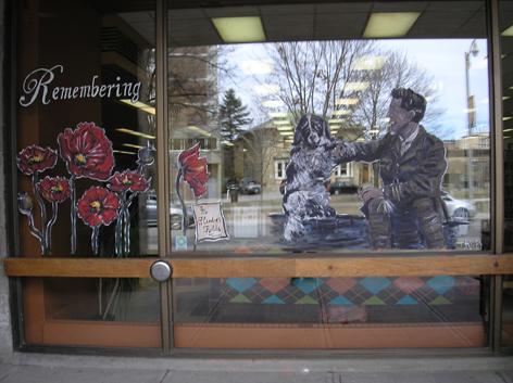 "Window artwork for celebrating 100th year for John McCrae's famous poem, ""In Flanders Fields."""