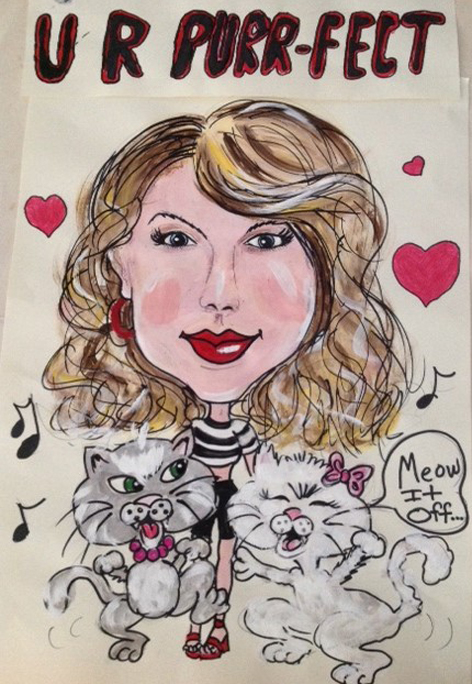 Taylor Swift caricature done with the help of the grandkids for a recent concert.