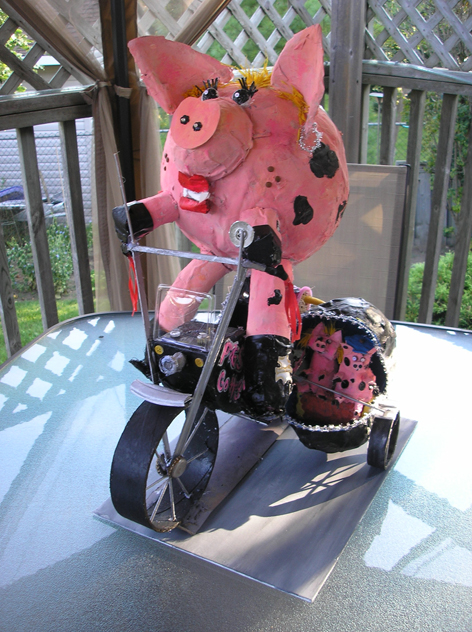 """3-Dimensional sculpture for Acton Fall Fair!  The theme was """"Hogs Gone Wild!"""""""