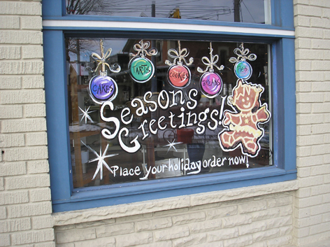 Seasonal window art work for With The Grain.