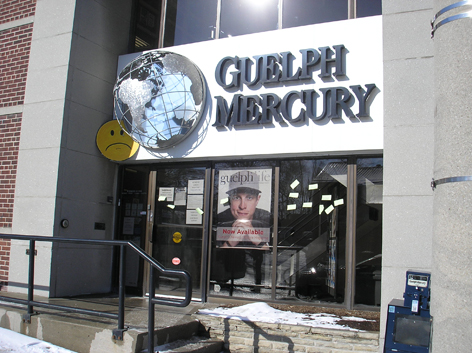 Unhappy face addition to Guelph Mercury's newspaper closure.