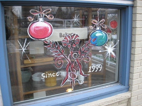 Christmas window art work for With The Grain Bakery.